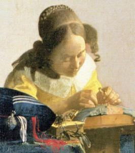 熱心に仕事をする女性 レースを編む女 フェルメール画