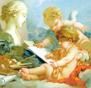 占いをして未来を描く天使