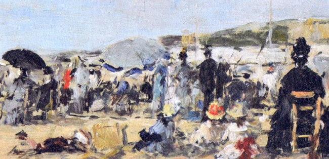 海辺に集う人々 トゥールビルの海岸にて ブーダン画