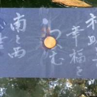 八重垣神社の鏡の池で、水占いをする