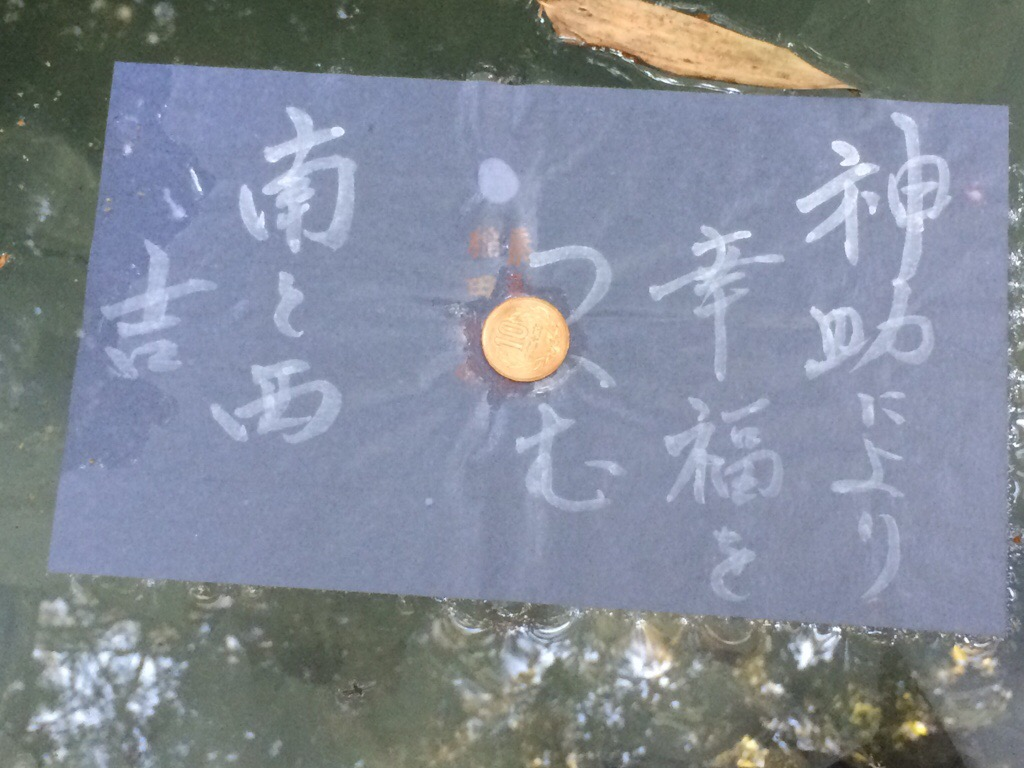 水占いの紙に硬貨を載せて池に浮かべて占います