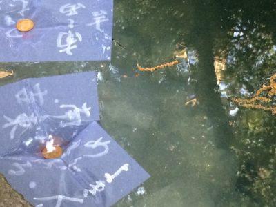 水占い、池のイモリがつついて沈み始めた