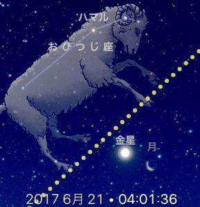 2017年6月21日早朝、金星と月が接近