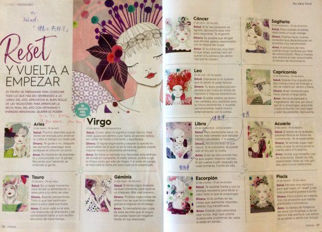 スペインの女性誌、星占いのページ
