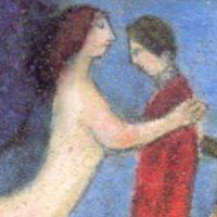 男性を抱きしめる天使