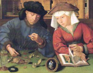 お金の価値を計る両替商とその妻