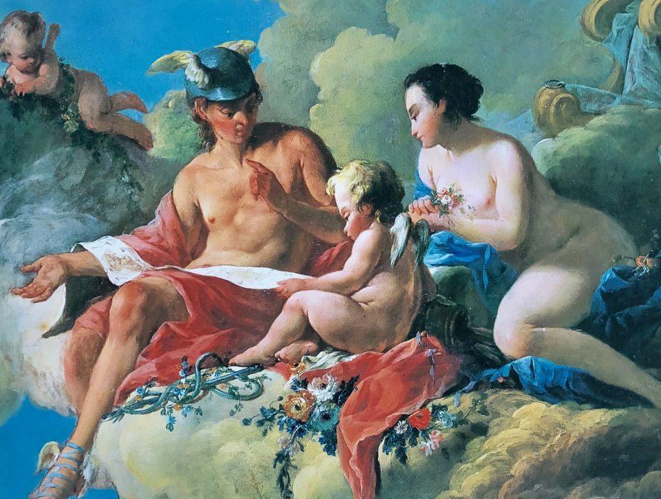 コミュニケーションの神ヘルメスが、愛の女神アフロディテの息子エロスに勉強を教えている