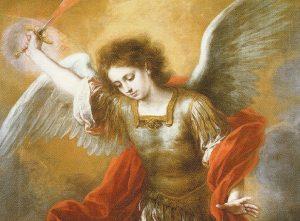 大天使ミカエルが悪魔を奈落に突き落とす ムリーリョ画